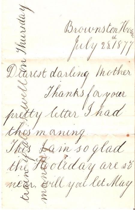 Letter from Emmeline Pethick as a young girl to her mother