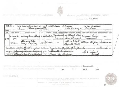 Blanche Payling's marriage certificate