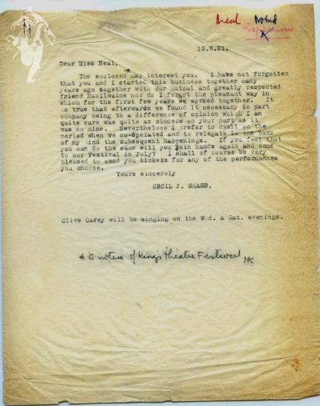 Letter of reconciliation from Cecil Sharp to Mary Neal